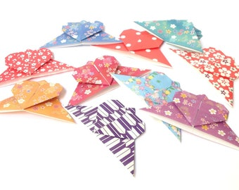 Hearts corner brand-pages, lot 10 small corner bookmark, special manga, origami paper