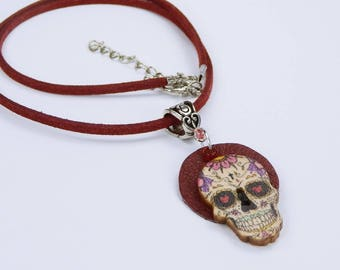 Necklace skull Colorful on red leather on red leather strap dia de Muertos Mexican skulls skull Halloween Heart Day of the dead