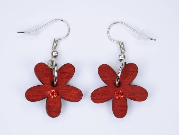 Earrings flowers in red with red rhinestones on silvery earrings pendant earrings Oktoberfest wood Flower Frühlungsschmuck