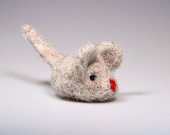 Cat Toy Felted mouse for cat  Valerian Root and  Catnip Cat Toy Needle felted mouse wit catmint  Herb stuffed mouse Sheep wool toy