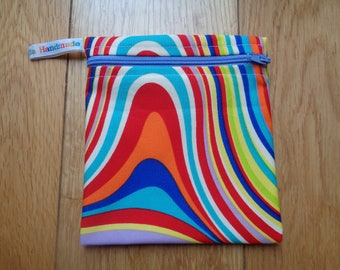 Snack Bag - Bikini Bag - Lunch Bag - Make Up Bag Small Poppins Waterproof Lined Zip Pouch - Sandwich bag  Eco - Groovy Swirl Recycle