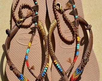 SALE Sandals, Hippie Sandals, Bohemian Sandals, Foot Jewelry, Women Flip Flops, Women Shoes, Decorated Havaianas, Crochet Sandals, Beaded Sa
