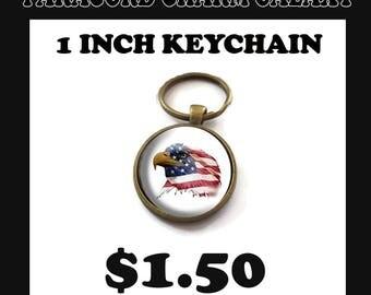 American Flag 2 Key Chain 1 Inch Circle Pendant Antique Bronze