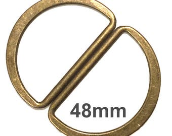Large D-rings 48mm ID / D-Rings / Purse Hardware / Antique Brass D Rings / SET of TWO
