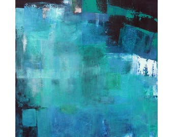 Midnight Reflections large Abstract original painting wall art in Blues Greens Turquoise Black modern MCM wall decor art Atomic Ranch