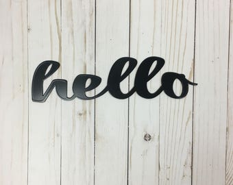 Hello Sign, Metal Wall Art, Custom Metal Sign, Hello Wall Decor, Gallery Wall Art, Entryway Sign, Personalized Signs For Home, New Home Gift