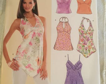 New Look 6486, Sewing Pattern, Size A 8-18, Halter Top, Uncut, New, Factory Folded