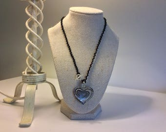 Tatted Necklace with Black and White Heart Glass Pendant