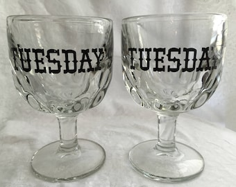 Tuesday's heavy Thumbprint Goblets (set of 2)