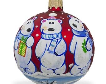 "3.25"" Three Polar Bears Glass Ball Christmas Ornament"