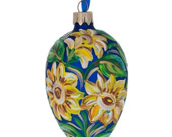 "4"" Yellow Flowers Glass Christmas Ornament"