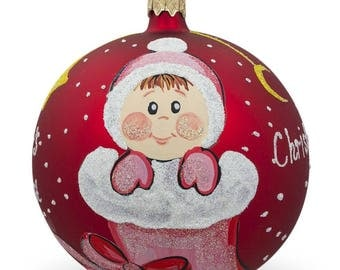 "4"" Girl in Christmas Stocking Glass Ball Baby's First Christmas Ornament"