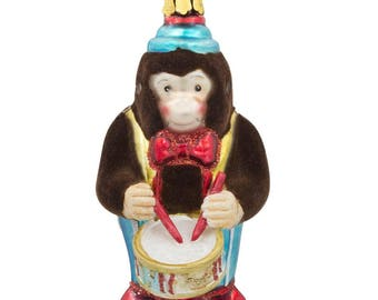 "4"" Fluffy Monkey Playing Drums Glass Christmas Ornament"