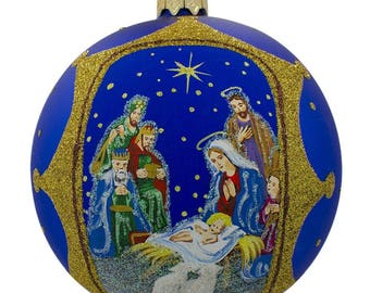 "4"" The Nativity Gathering Glass Ball Christmas Ornament"