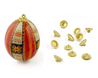 12 Gold Tone Christmas Ornament Findings / Egg Top Findings