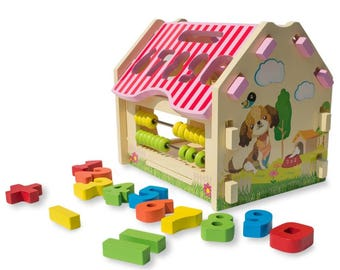 Learn to Count Abacus Calculator Wooden House