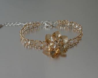 Swarovski crystal bracelet flower golden shadow