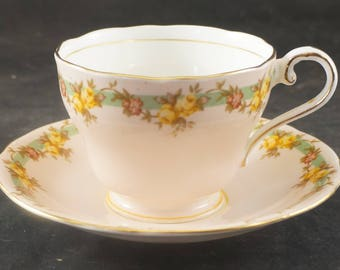 Aynsley Fine Bone China Cup and Saucer Yellow Roses on Beige