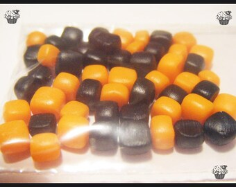 Polymer clay miniature Marshmallow set of 50 Halloween citrouill bottle lot