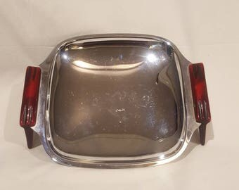 Retro Glo Hill Gourmates Chrome and Cherry Red Bakelite Serving Tray