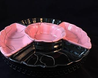 Vintage Atomic Pink and Black Sectional Server