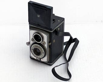 VERY RARE 1957 Antique Wittnette Deluxe Chrono Lens TLR Twin Lens Reflex Vintage Box Camera Wittnauer 620 Roll Film Camera Collection Kodak