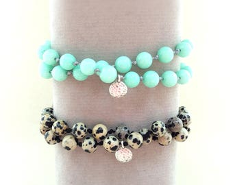 Dalmatian Jasper bracelet, Jade bracelet, Mayan Jade, Howlite bracelet, wrap bracelet, yoga bracelet, multi strand bracelet