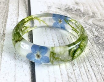Resin ring-Real flower ring-forget me not-real moss ring-pressed flower ring-nature jewellery-wedding ring-handcrafted ring-resin rings