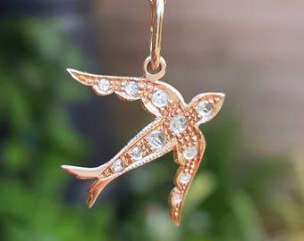 "Victoriaanse Vintage stijl 9ct Rose Gold & Diamond slikken vogel Necklace 18"", 20"""
