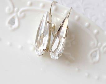 Swarovski raindrop earrings, Swarovski 4331 earrings, Crystal raindrop earrings, 30mm raindrop