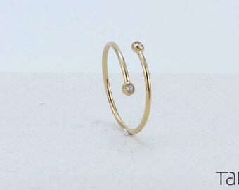 Double Diamond Ring, Gold Diamond Ring, 14k Solid Gold, Adjustable Gold Ring, Anniversary Gift, Minimal Jewelry, Brilliant Cut Diamond