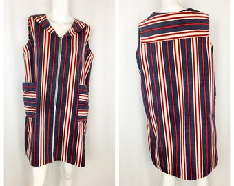 Vintage 1960's Striped Sailor Collar Dress || 60's Zip Front Shift with Patch Pockets || Red White and Blue Day Dress || Large