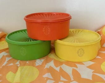 Three Vintage Tupperware Citrus Canisters, Tupperware Canister Set, Orange and Yellow and Green Tupperware