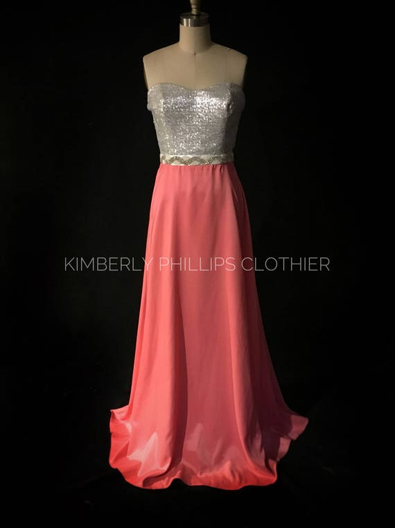 Sample Sale- Reduced Price-Bridesmaid Dress, Long, Sequin Dress, Satin Skirt, Prom Dress, Strapless