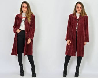Burgundy corduroy coat jacket red Vintage trench hipster 80s XL/XXL