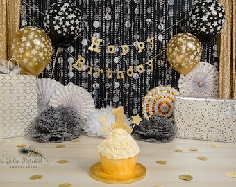 Gold Sequined Curtains for Cake Smash or Birthday Set, Baby or Bridal Shower