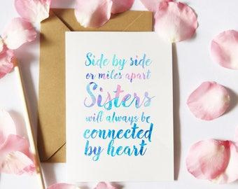 PRINTABLE Sister Card, Sister Digital Download, Watercolor Quote Card, Sister Printables, Card for Sister, Card Template, Sister Quote Card