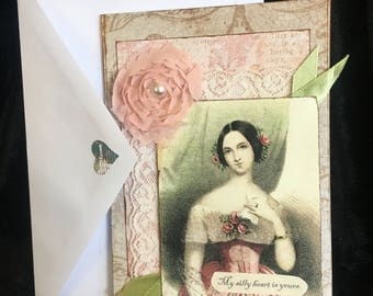 Romantic one of a kind handmade greeting card