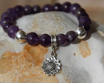 semi precious beads bracelet with beads amethysme
