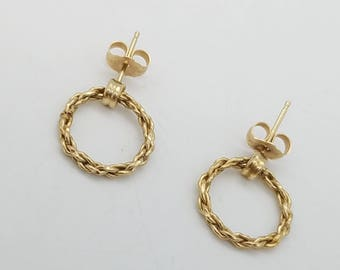 14K Gold Twisted Rope Wreath Dangle Earrings