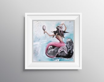 Lovely - Physical Print of Pink Mermaid with Jellyfish Hat Painting (Multiple Sizes)