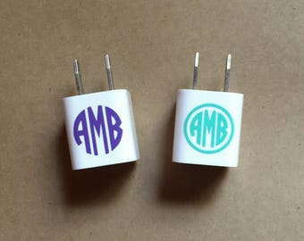 Monogrammed Phone Charger Decal - Set of 2