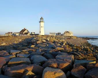 Daybreak at Scituate Light, MA, sunrise, lighthouse, South Shore, Boston, New England, nautical decor, morning, archival print, signed