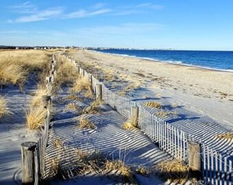 Pretty view of dune fences at Duxbury Beach, Massachusetts, beach photos, ocean, seashore, New England, east coast, archival signed print