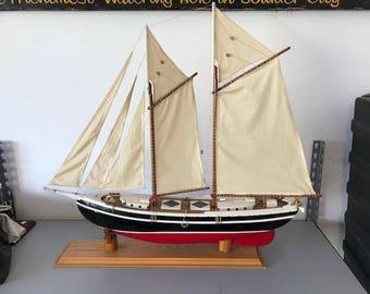 L@@K! Vintage Wooden Schooner Model Sail Boat