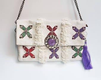 Tribal kilim Clutch bag with buckle / Shoulder bag / Boho Style Bag