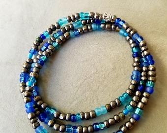 Silver and Blue Wrap bracelet
