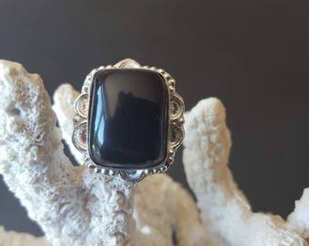 Black Onyx ring, black silver ring, silver black ring, solid sterling silver ring, sterling silver ring, size 7