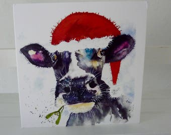 Festive Moo, a quality greetings card from a watercolour by Pauline Merritt