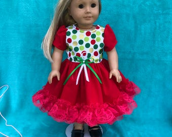 18 inch doll dress, American Girl clcthes,AG doll dress, 18 inch doll Christmas dress,AG doll clothes,18 inch doll clothes